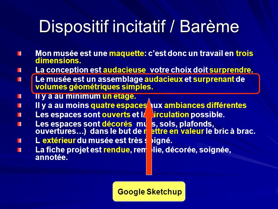Dispositif incitatif / Barème
