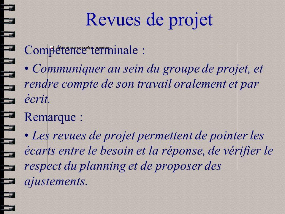Revues de projet Compétence terminale :