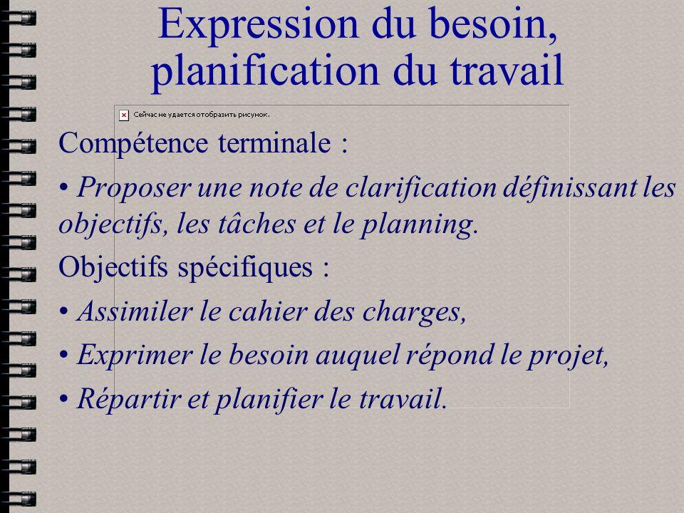 Expression du besoin, planification du travail