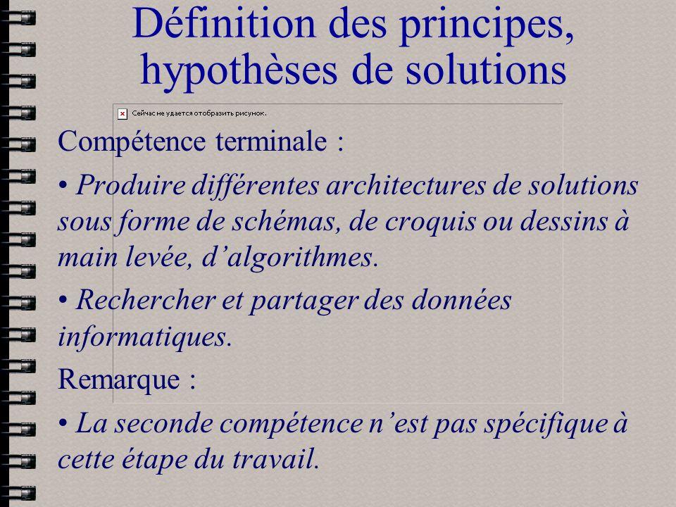 Définition des principes, hypothèses de solutions