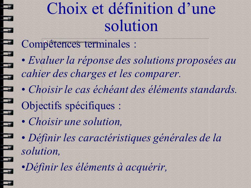 Choix et définition d'une solution