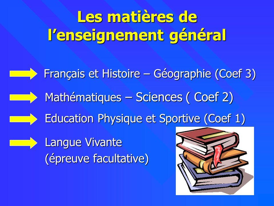 Les matières de l'enseignement général