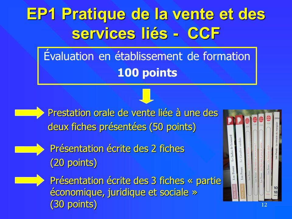 EP1 Pratique de la vente et des services liés - CCF