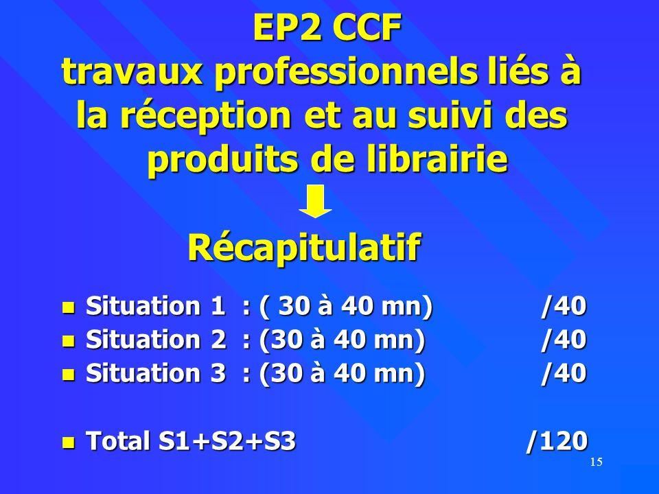 EP2 CCF travaux professionnels liés à la réception et au suivi des