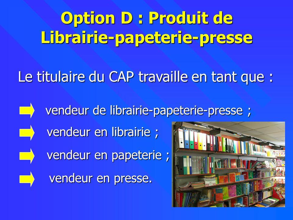 Option D : Produit de Librairie-papeterie-presse