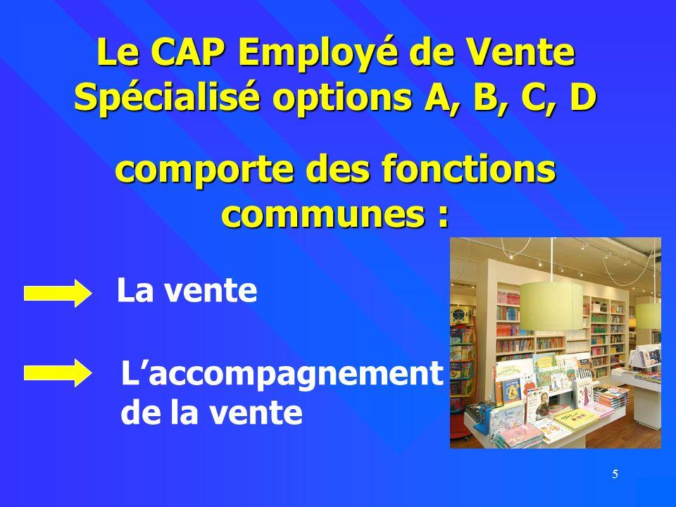 Le CAP Employé de Vente Spécialisé options A, B, C, D comporte des fonctions communes :