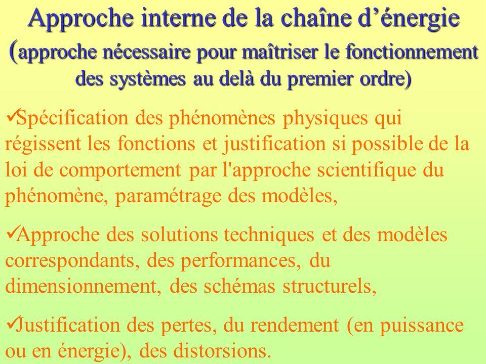 Approche interne de la chaîne d'énergie (approche nécessaire pour maîtriser le fonctionnement des systèmes au delà du premier ordre)