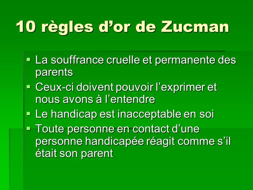 10 règles d'or de ZucmanLa souffrance cruelle et permanente des parents. Ceux-ci doivent pouvoir l'exprimer et nous avons à l'entendre.