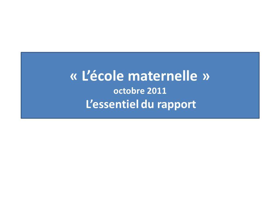 « L'école maternelle » octobre 2011 L'essentiel du rapport