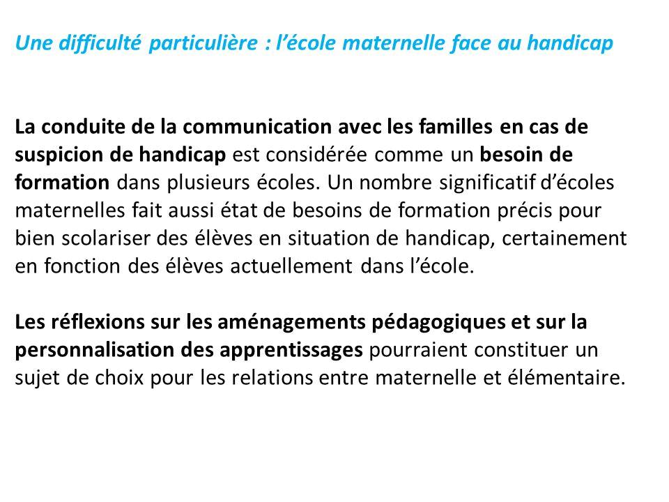 Une difficulté particulière : l'école maternelle face au handicap La conduite de la communication avec les familles en cas de suspicion de handicap est considérée comme un besoin de formation dans plusieurs écoles.
