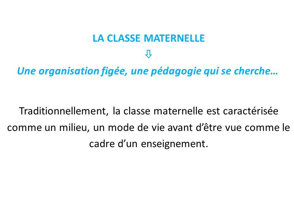 LA CLASSE MATERNELLE  Une organisation figée, une pédagogie qui se cherche… Traditionnellement, la classe maternelle est caractérisée comme un milieu, un mode de vie avant d'être vue comme le cadre d'un enseignement.