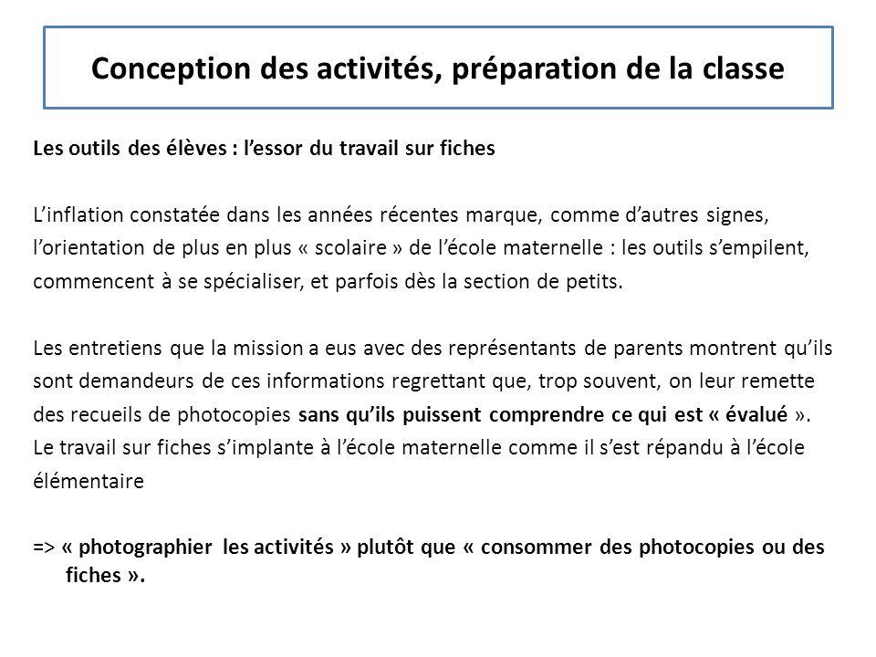 Conception des activités, préparation de la classe