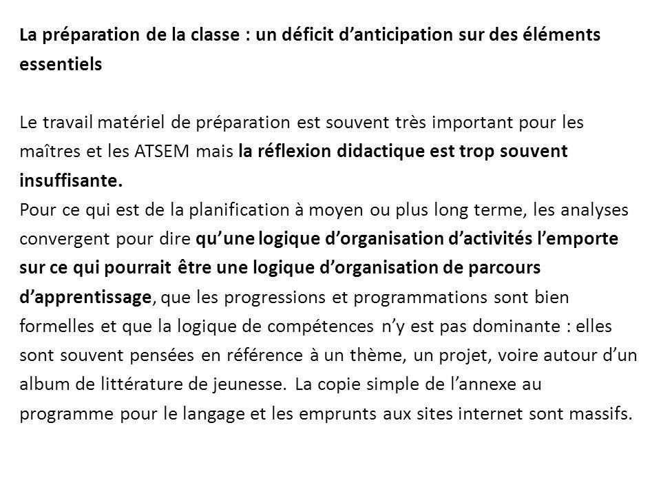 La préparation de la classe : un déficit d'anticipation sur des éléments essentiels Le travail matériel de préparation est souvent très important pour les maîtres et les ATSEM mais la réflexion didactique est trop souvent insuffisante.