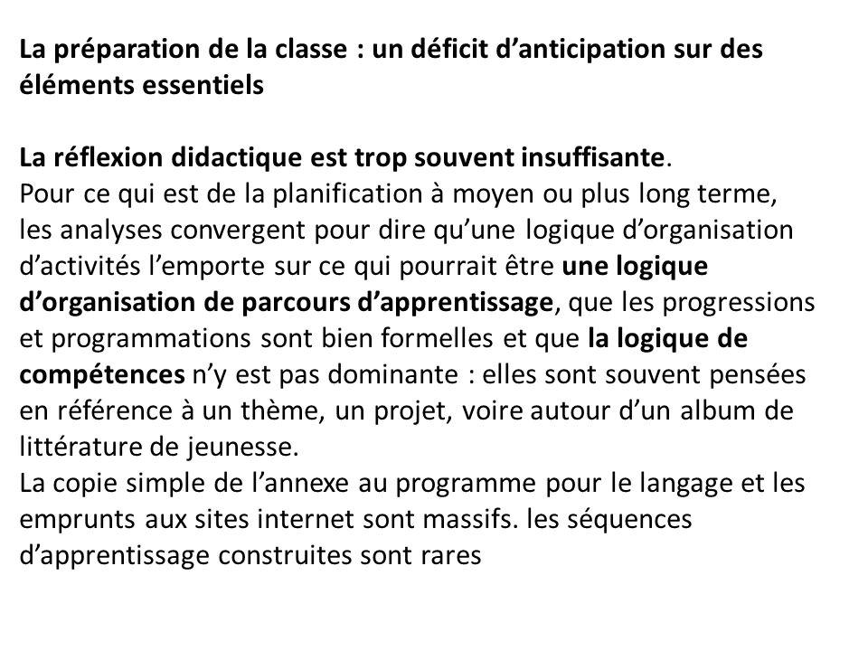 La préparation de la classe : un déficit d'anticipation sur des