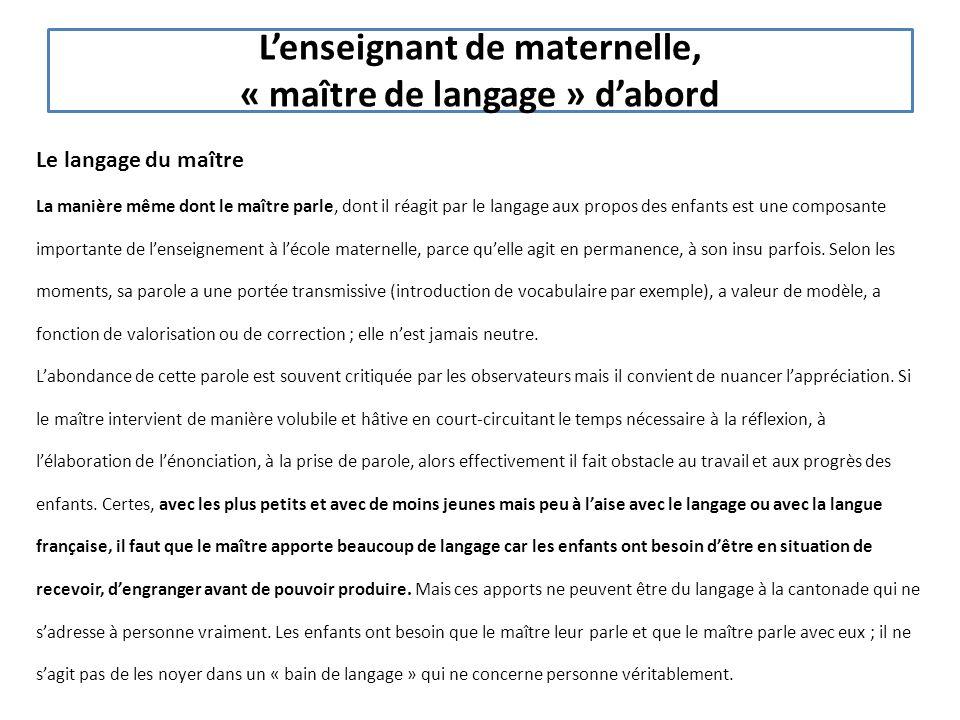 L'enseignant de maternelle, « maître de langage » d'abord