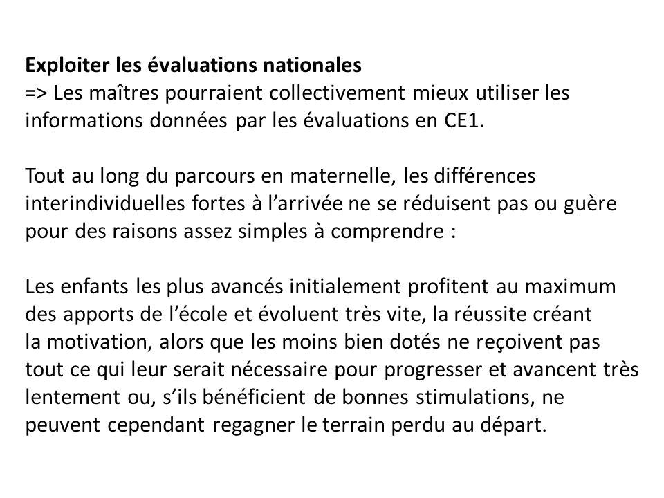 Exploiter les évaluations nationales => Les maîtres pourraient collectivement mieux utiliser les informations données par les évaluations en CE1.