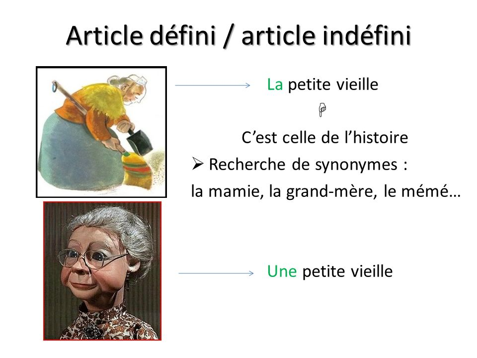 Article défini / article indéfini