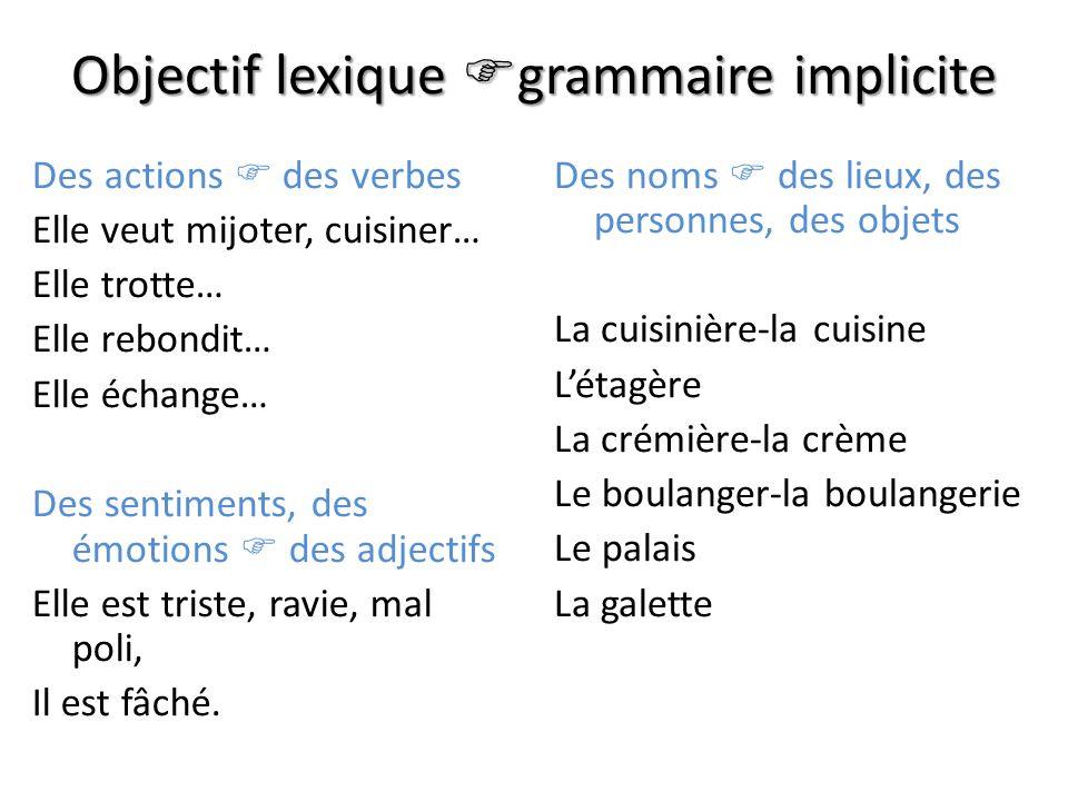 Objectif lexique grammaire implicite