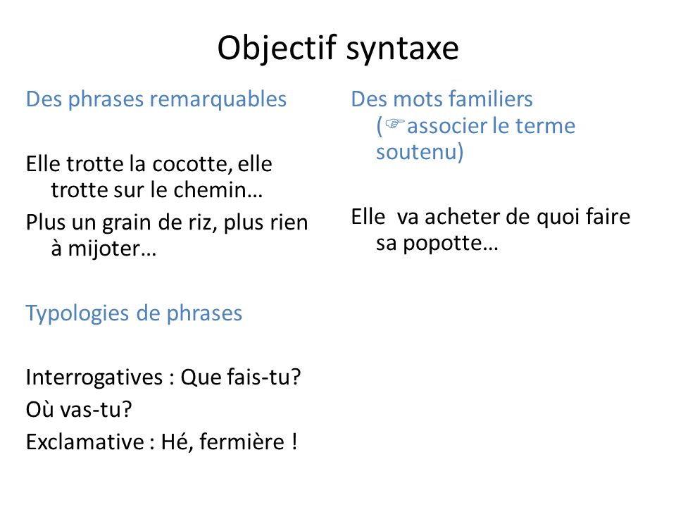 Objectif syntaxe