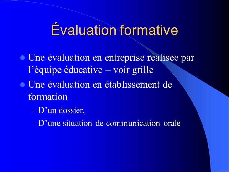 Évaluation formative Une évaluation en entreprise réalisée par l'équipe éducative – voir grille. Une évaluation en établissement de formation.