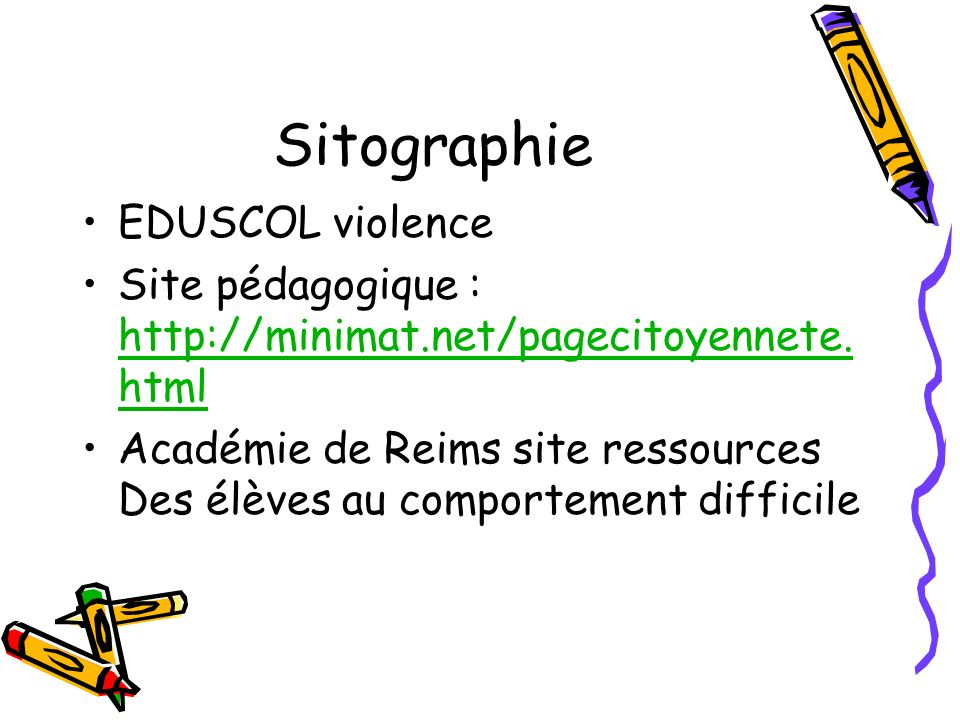Sitographie EDUSCOL violence