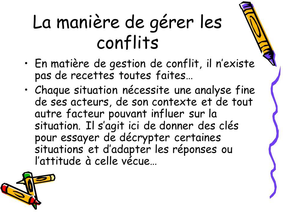 La manière de gérer les conflits