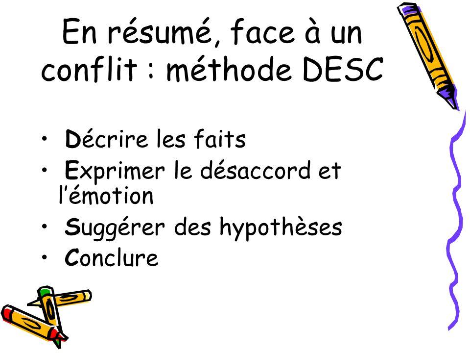 En résumé, face à un conflit : méthode DESC