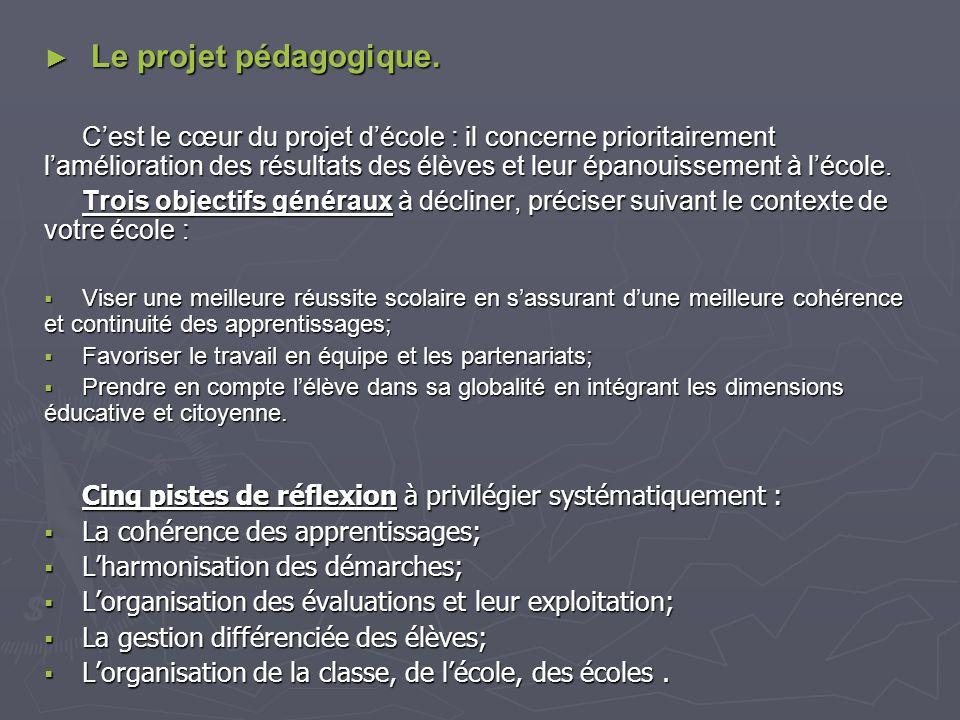 Le projet pédagogique.