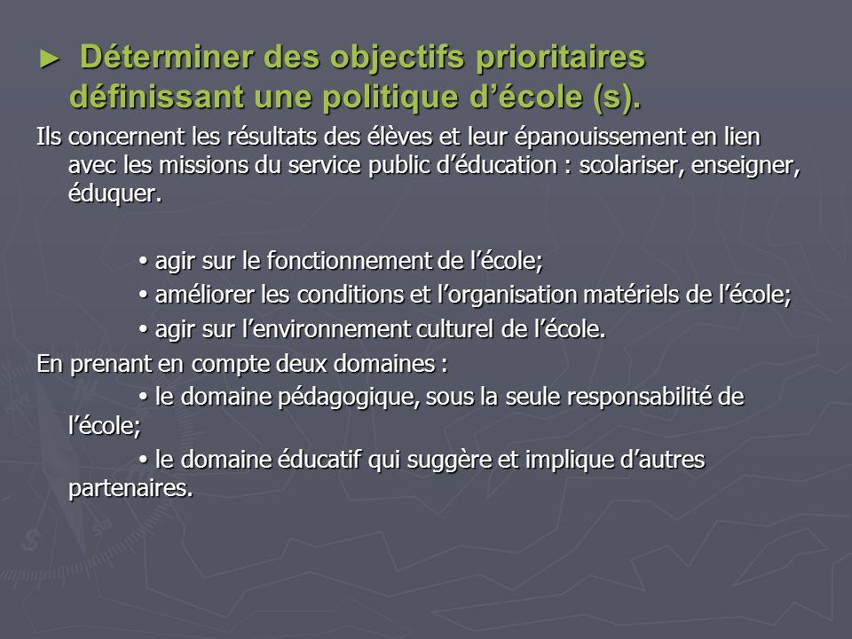 Déterminer des objectifs prioritaires définissant une politique d'école (s).