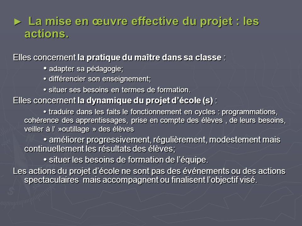 La mise en œuvre effective du projet : les actions.