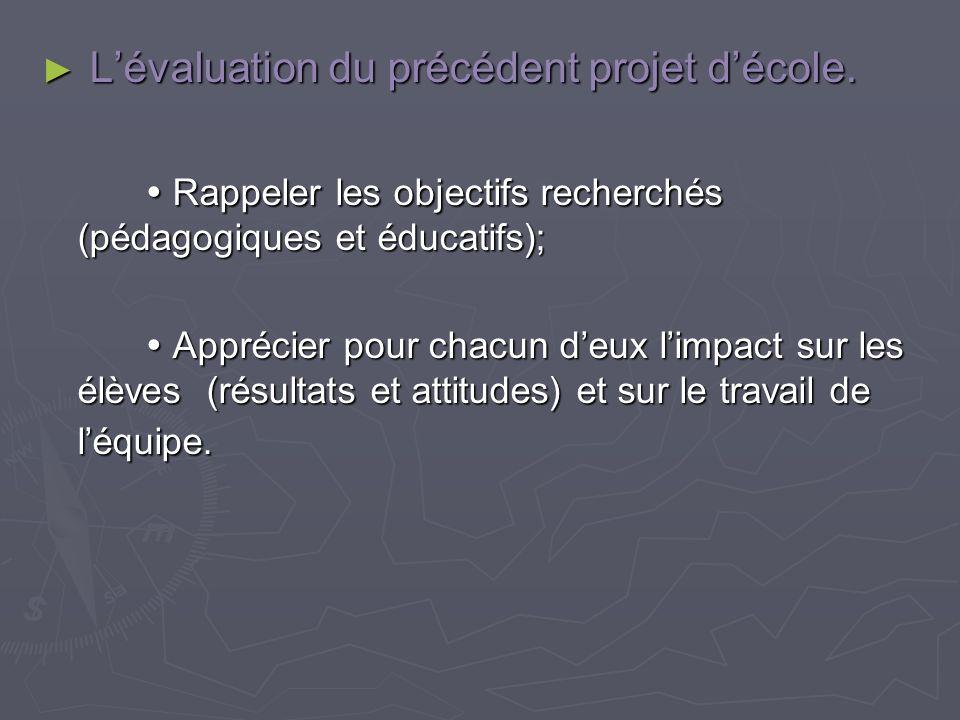 L'évaluation du précédent projet d'école.