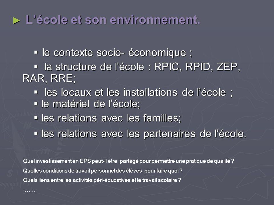 L'école et son environnement.  le contexte socio- économique ;