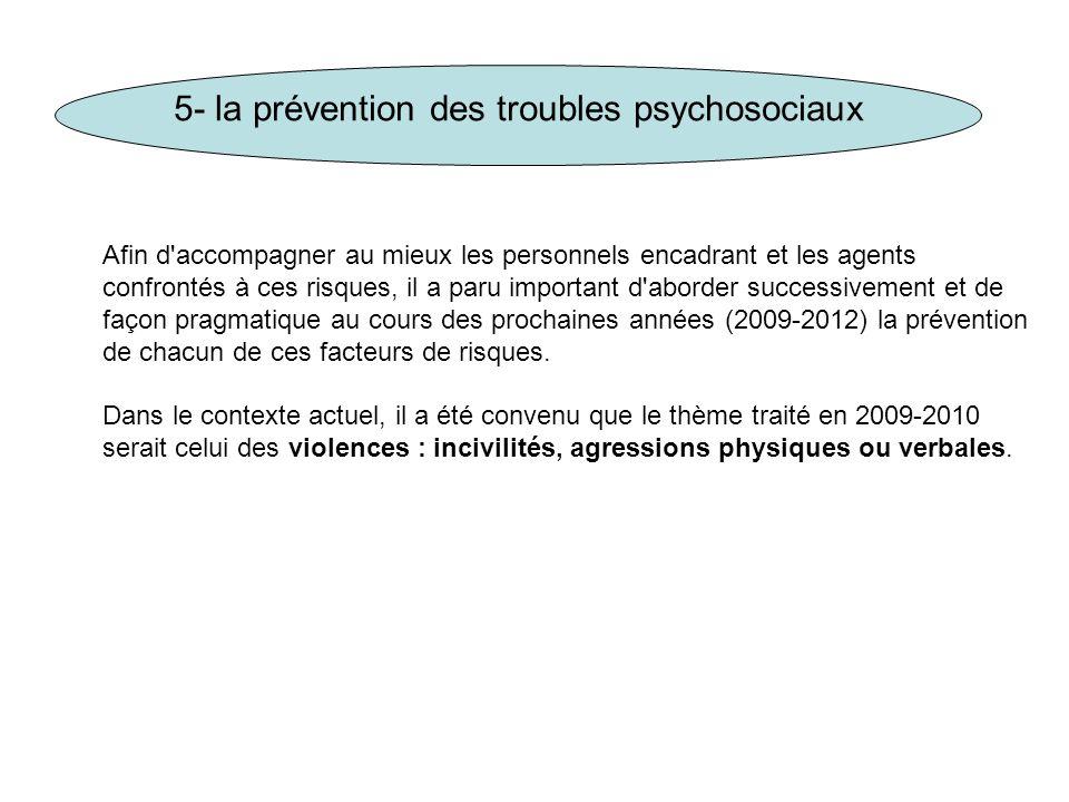 5- la prévention des troubles psychosociaux