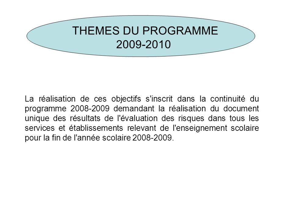 THEMES DU PROGRAMME 2009-2010