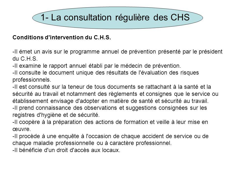 1- La consultation régulière des CHS