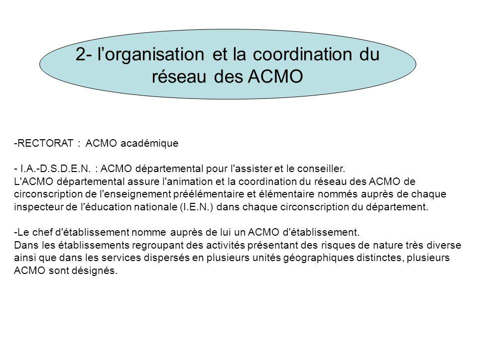 2- l'organisation et la coordination du réseau des ACMO