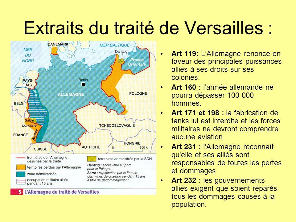 Extraits du traité de Versailles :