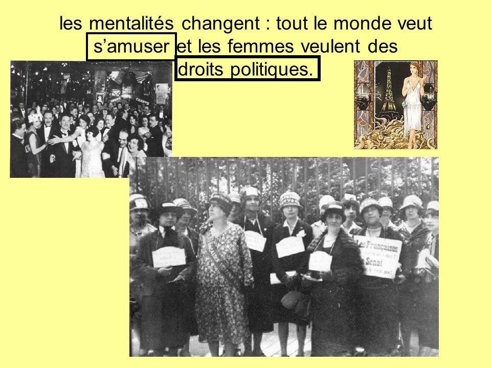 les mentalités changent : tout le monde veut s'amuser et les femmes veulent des droits politiques.