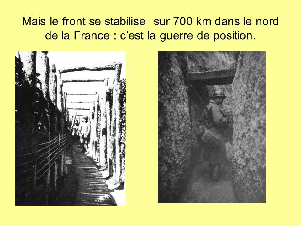 Mais le front se stabilise sur 700 km dans le nord de la France : c'est la guerre de position.