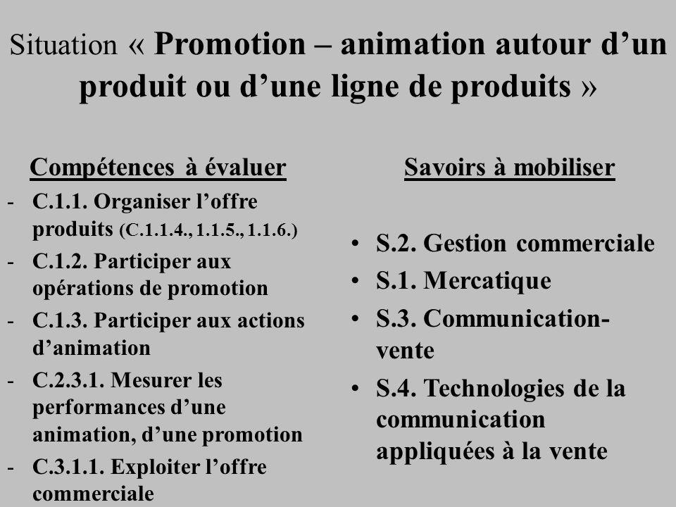 Situation « Promotion – animation autour d'un produit ou d'une ligne de produits »