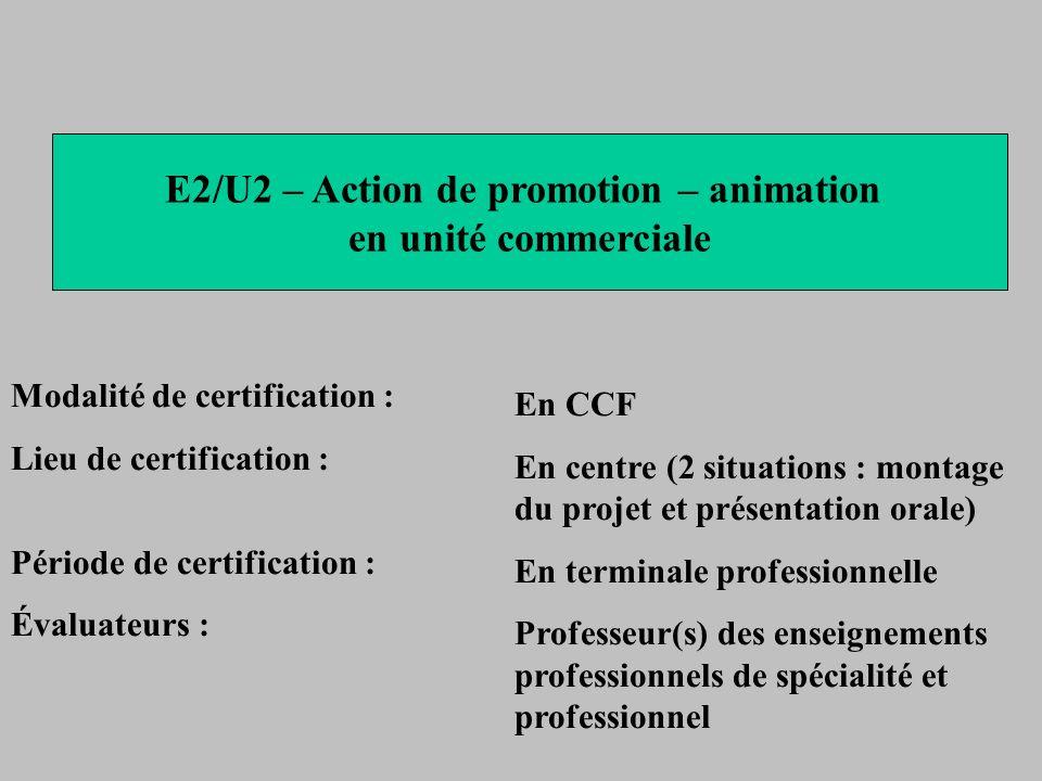 E2/U2 – Action de promotion – animation