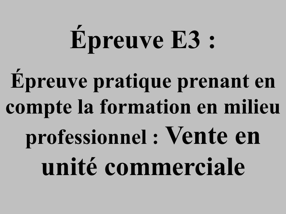 Épreuve E3 : Épreuve pratique prenant en compte la formation en milieu professionnel : Vente en unité commerciale.