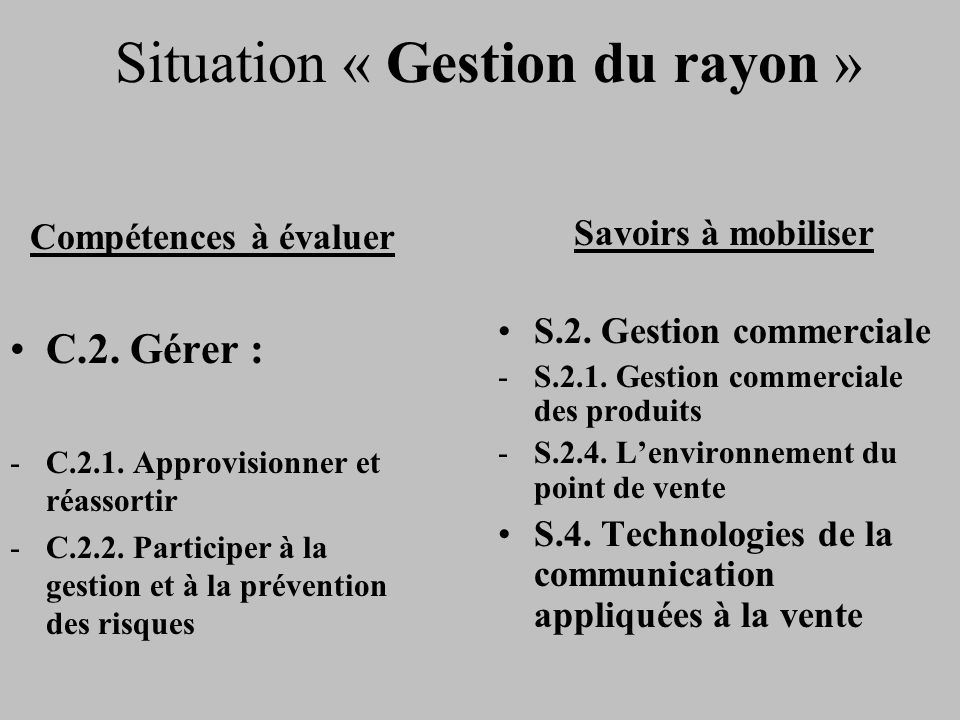Situation « Gestion du rayon »