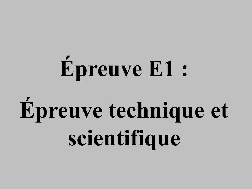 Épreuve technique et scientifique