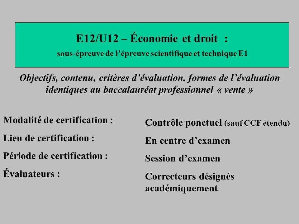 E12/U12 – Économie et droit :