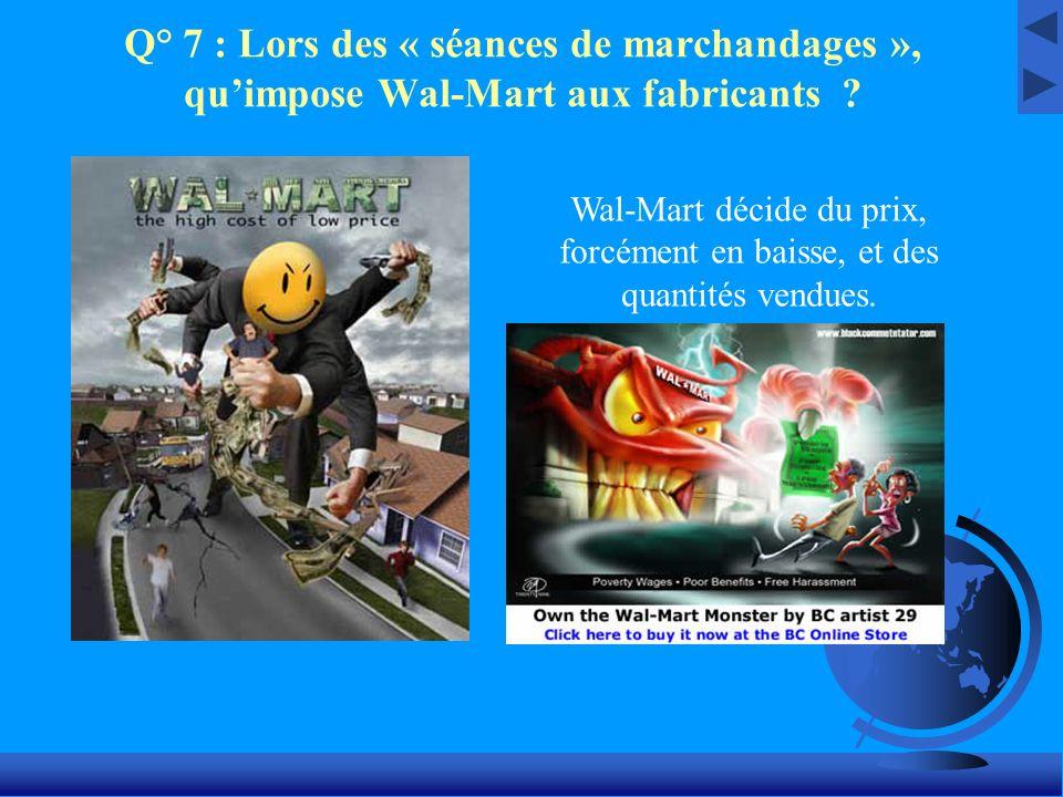 Q° 7 : Lors des « séances de marchandages », qu'impose Wal-Mart aux fabricants