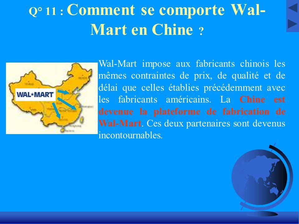 Q° 11 : Comment se comporte Wal-Mart en Chine