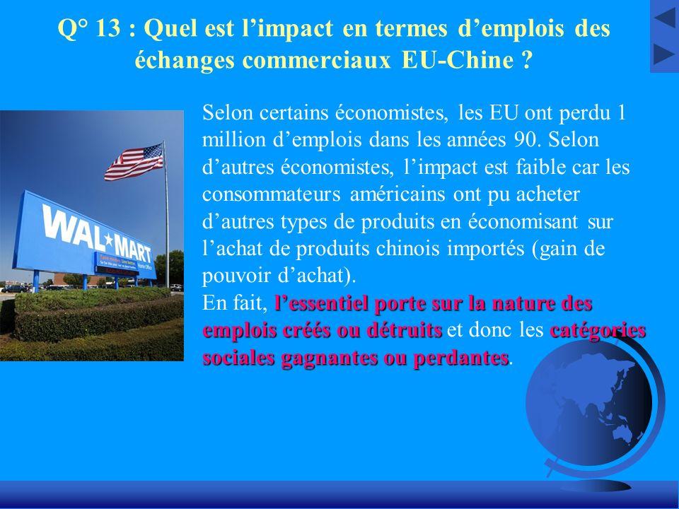 Q° 13 : Quel est l'impact en termes d'emplois des échanges commerciaux EU-Chine