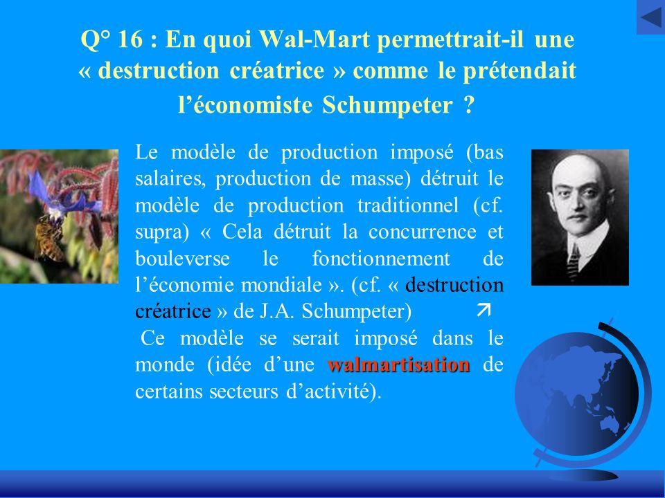 Q° 16 : En quoi Wal-Mart permettrait-il une « destruction créatrice » comme le prétendait l'économiste Schumpeter