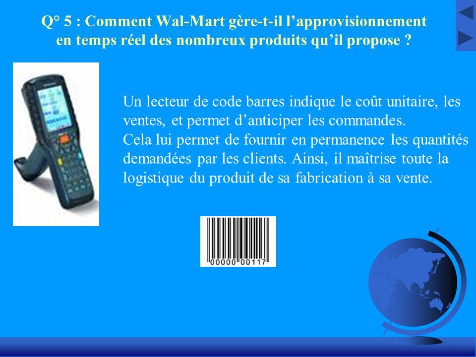 Q° 5 : Comment Wal-Mart gère-t-il l'approvisionnement en temps réel des nombreux produits qu'il propose